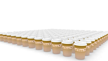 overuse: Huge amount of plastic coffee cups in a row on white