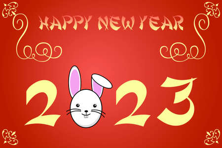 chinese new year rabbit: Happy chinese new year card illustration for 2023, the year of the rabbit Stock Photo