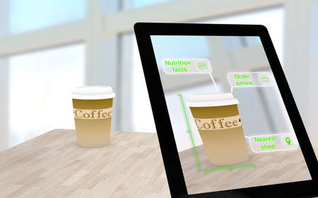 Augmented reality coffee on a table scanned by a tablet with inquiry options