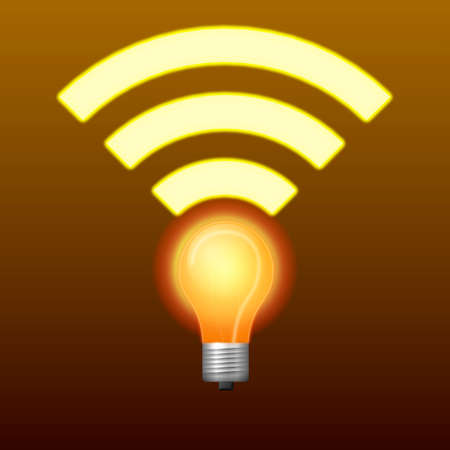 high speed internet: Lifi symbol with glowing bulb combined with wifi symbol