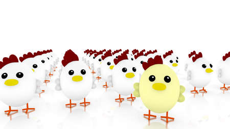 Chicken army with many little cute white chicken and one yellow standing out