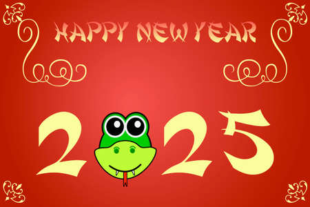 snake year: Happy chinese new year card illustration for 2025, the year of the snake Stock Photo
