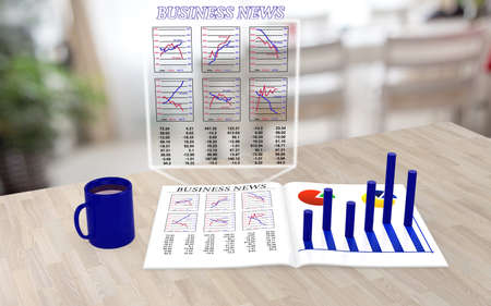 electronics parts: Augmented reality business magazine on a table with enhanced charts extruding from the paper