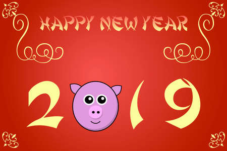 chinese new year card: Happy chinese new year card illustration for 2019, the year of the pig