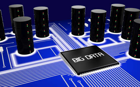 emit: Circuit board with a chip and the word big data and several servers mounted on it Stock Photo