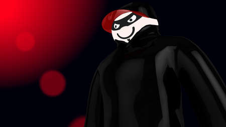 sun flare: Huge hacker with black coat and baseball cap with a red sun flare