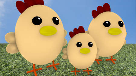 family holiday: Cute chicken family on gras in front of blue sky Stock Photo