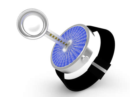 Smartwatch security concept illustration with a key sticking into a watch