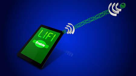 transmit: Lifi concept illustration tablet with lightwaves transmitting data Stock Photo