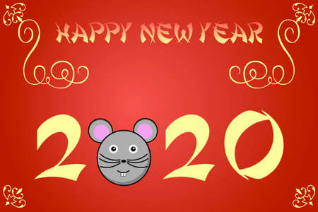 asian happy family: Happy chinese new year card illustration for 2020, the year of the rat