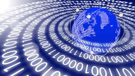 emitting: World emitting data in circles as a big data concept