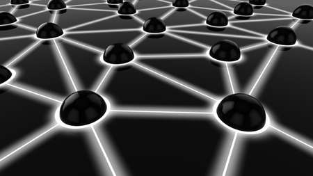 Black spheres connected with white glowing lines network concept render Standard-Bild