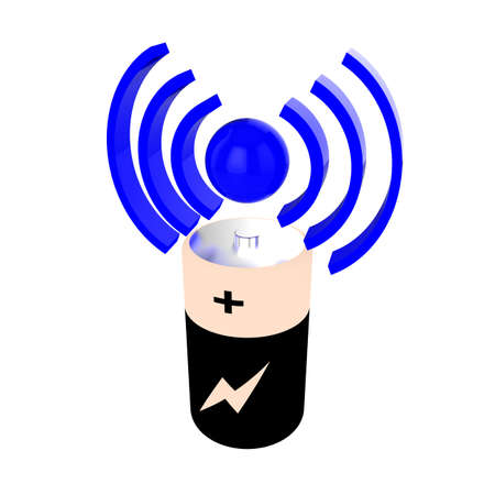 emitting: Wireless charging 3d icon with battery and symbol emitting power