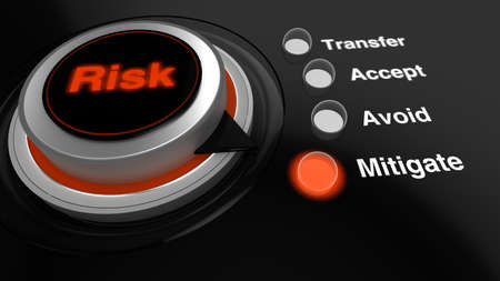 Rotary knob with the word risk in red turned to mitigate with a glowing LED switched on Stok Fotoğraf