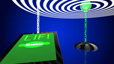 li: Lifi concept illustration tablet with lightwaves and transmitter Stock Photo