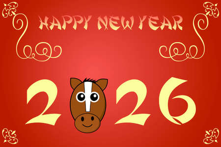 chinese new year card: Happy chinese new year card illustration for 2026, the year of the horse Stock Photo