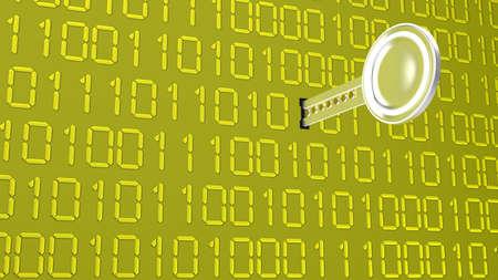 1 とゼロのテクスチャと黄色の壁に鍵穴に入る銀の鍵