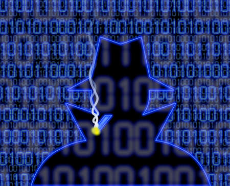 denial: Blue hacker silhouette with cigarette and digital background information security concept illustration