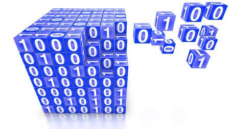 shaping: Big data concept digital boxes shaping a big cube