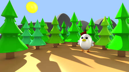 egg shaped: Cute little chicken alone in the forest 3d render at sunset