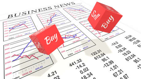 news values: Two dice with buy sell rolling as concept for buy sell decision Stock Photo