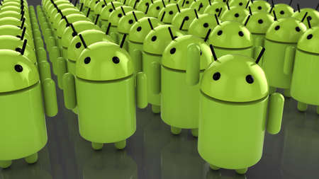 Shanghai,China - 02 15 2016: Huge amount of green android figures with one standing out waving as a market leader concept illustration 報道画像