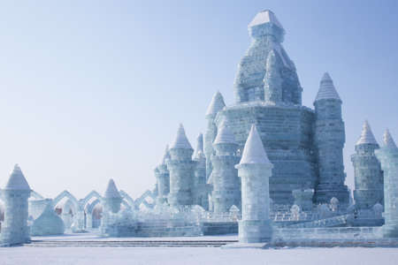 Harbin,China 2016: Ice castle in front of blue sky amazing architecture at the ice festival harbin on sun island