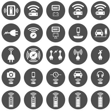 wireless: Wireless charging icon set with 25 different circular icons in white on dark grey Illustration