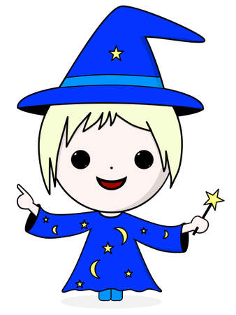 blue dress: Cute magician in a blue dress with stars and moons and a magic wand Illustration