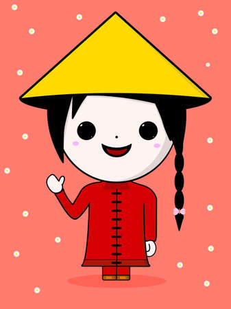 pony tail: Cute Chinese girl with red dress and yellow hat illustration