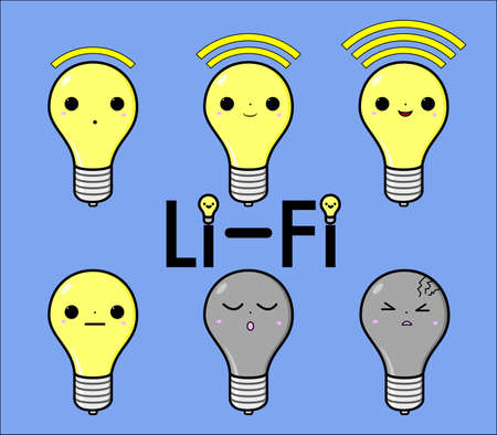six objects: Six Li-Fi icons style with different faces for different LiFi status