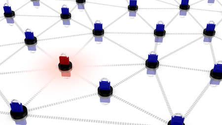 high speed internet: Insecure network concept illustration with multiple blue and one red padlock flying on top of interconnected network nodes