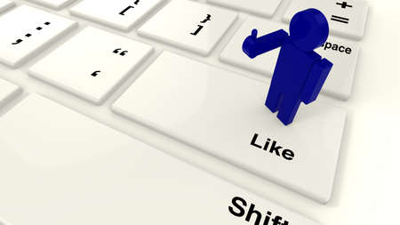 raise the thumb: Blue guy close up raising his arm with thumbs up to like something while standing on the like key of a keyboard