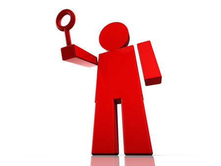 figurine: Huge red abstract figurine with a magnifier glass on white background Stock Photo