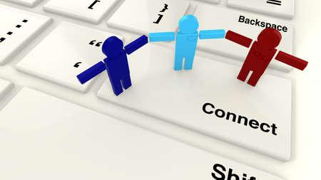 tomados de la mano: Teclado con el concepto clave de conexi�n para la conexi�n a Internet y peque�as personas de pie en las manos de custodia de llaves Foto de archivo