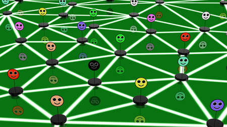 network concept: Social network concept with connected differently colored faces on a black podium connected to each other in a network Stock Photo