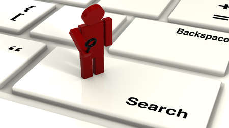 guy standing: Small tiny red guy with a magnifier glass standing on the key search on a keyboard
