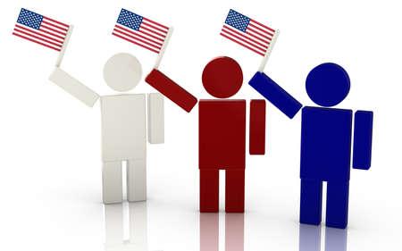 gente saludando: Tres personas agitando la bandera americana render ilustraci�n del concepto