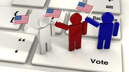 gente saludando: Tres personas ondeando la bandera americana de pie sobre la tecla voto de un primer plano del teclado del ordenador render ilustraci�n del concepto