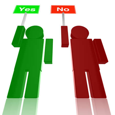 indecisive: A red person holds a no sign while a green person holds a yes sign Stock Photo