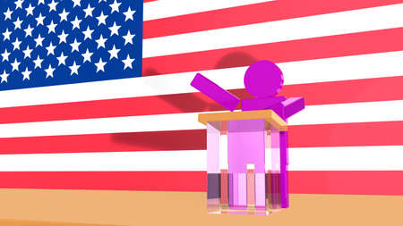 votes: A purple swing state figurine trying to gain votes on a stage in front of the american flag 3d render