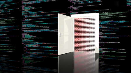 cyber war: Door in a wall in a black room painted with computer code leading to a digital red background