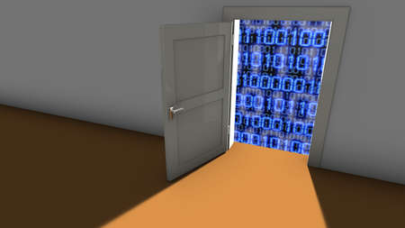 backdoor: Open door in a wall leading to a digital background