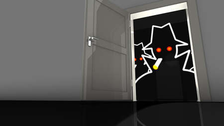 cyber war: Open door in the wall with a hacker in the dark waiting to get in