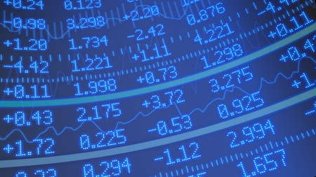 ticker: Stock market ticker background in blue with various numbers and graphs Stock Photo