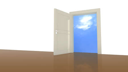 independently: Open door in a wall leading to a sunny blue sky as a freedom concept