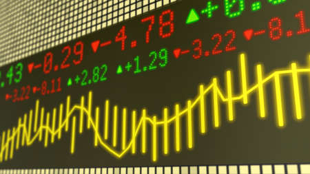 ticker: Stock market ticker background in yellow with various numbers and graphs