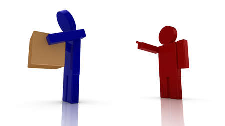 layoffs: Boss in red fires a worker in blue 3D render illustration