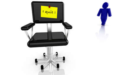 resign: Black office chair with yellow resignation notice and a worker walking away 3d render
