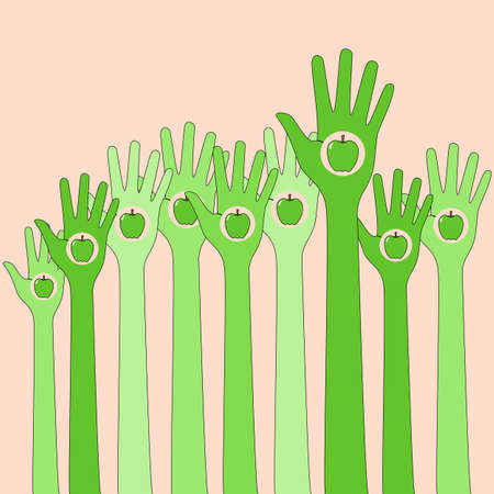 hands in: Green hands in the air with apple vector illustration